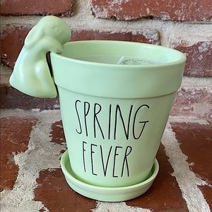 Rae Dunn SPRING FEVER candle planter with bunny